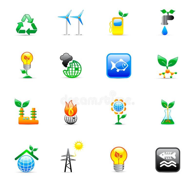De pictogrammen van de ecologie vector illustratie