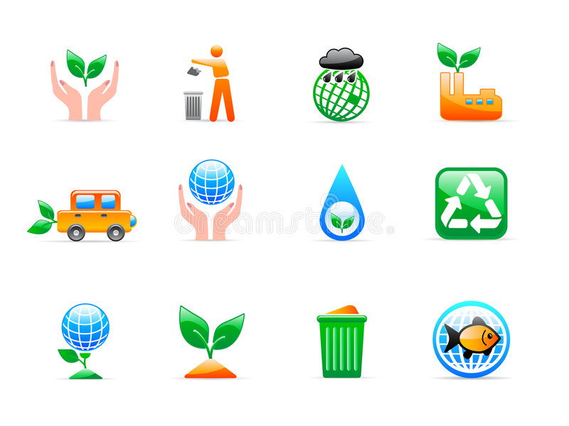 De pictogrammen van de ecologie royalty-vrije illustratie