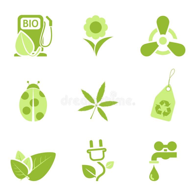 De pictogrammen van de ecologie plaatsen 3 vector illustratie