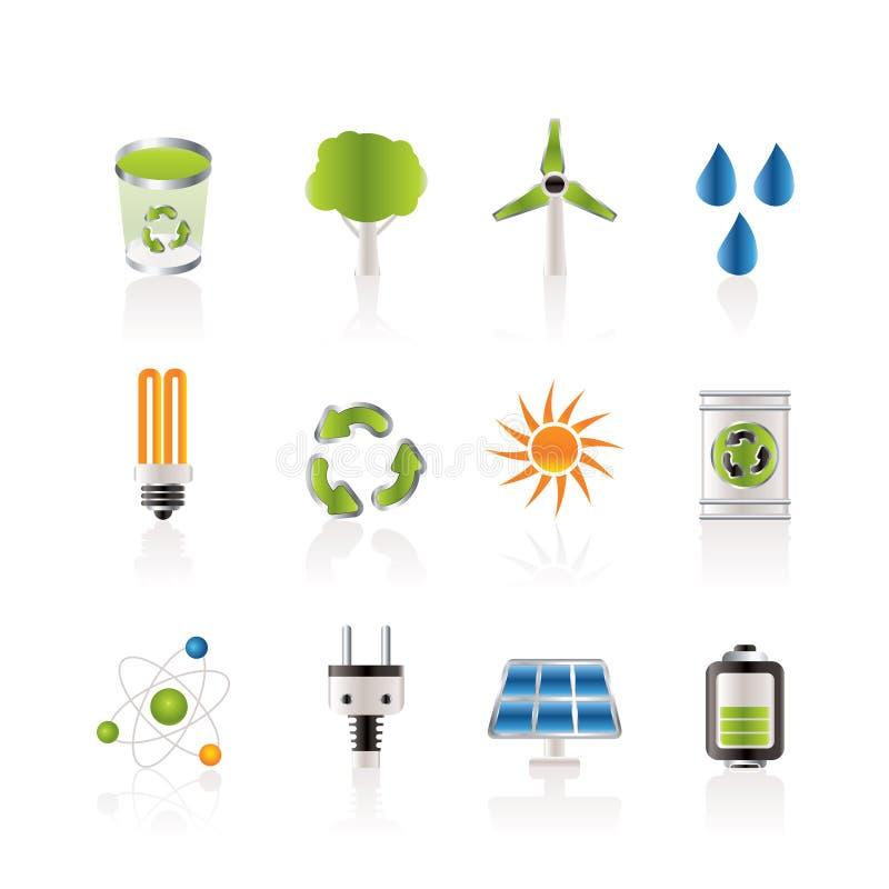 De pictogrammen van de ecologie, van de energie en van de aard royalty-vrije illustratie