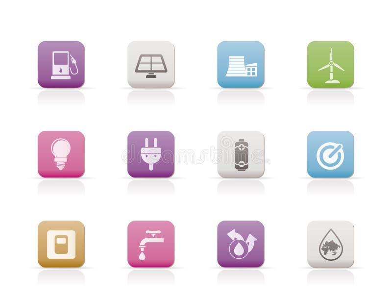 De pictogrammen van de ecologie, van de macht en van de energie vector illustratie