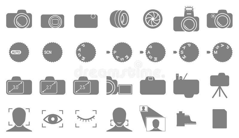 De pictogrammen van de fotografie en van de camera royalty-vrije illustratie