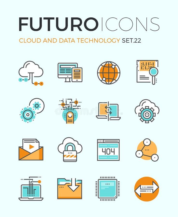 De pictogrammen van de futurolijn van de wolkentechnologie stock illustratie