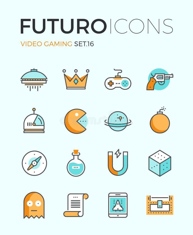 De pictogrammen van de futurolijn van het Indiegokken royalty-vrije illustratie