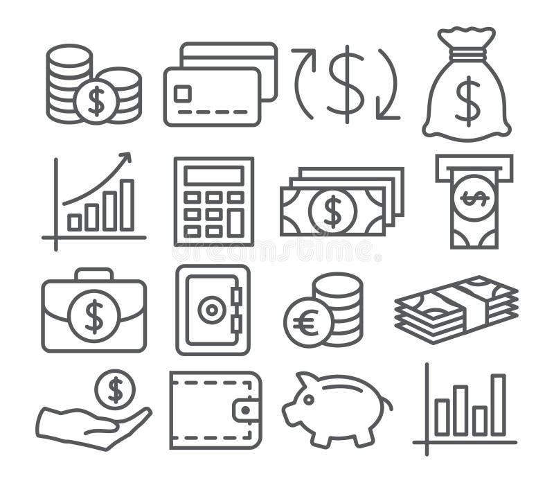 De Pictogrammen van de geldlijn stock illustratie
