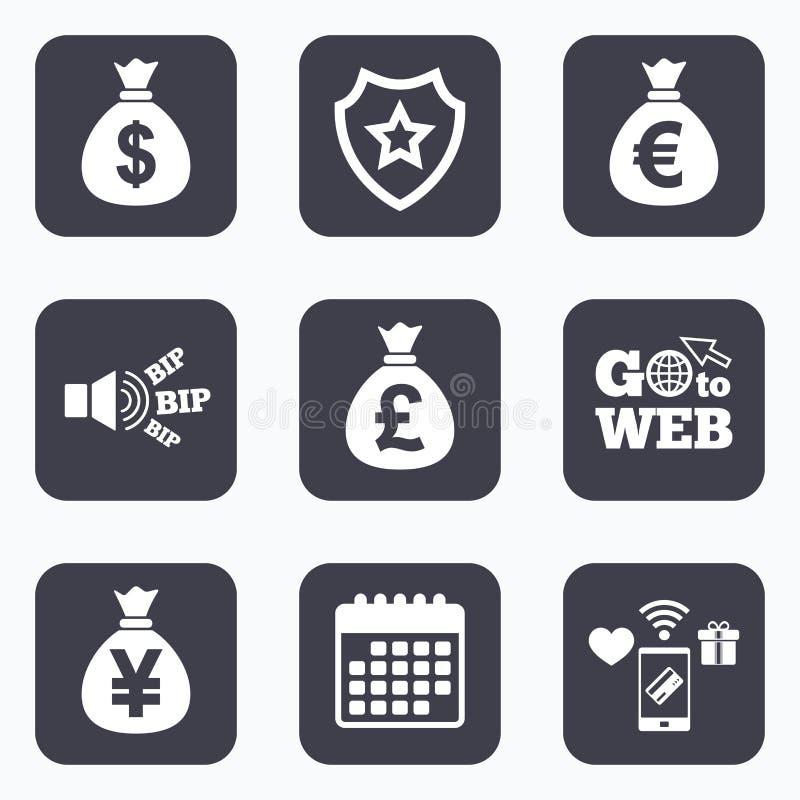 De pictogrammen van de geldzak Dollar, Euro, Pond en Yen vector illustratie