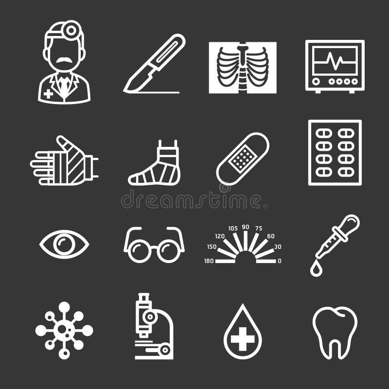 De pictogrammen van de geneeskunde en van de Gezondheid stock illustratie