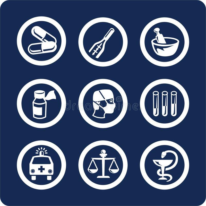 De pictogrammen van de geneeskunde en van de Gezondheid (plaats 6, deel 1) vector illustratie