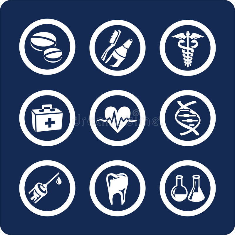 De pictogrammen van de geneeskunde en van de Gezondheid (plaats 6, deel 2) royalty-vrije illustratie