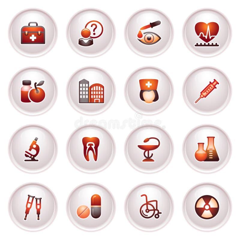 De pictogrammen van de geneeskunde plaatsen 2. Zwarte rode reeks. stock illustratie