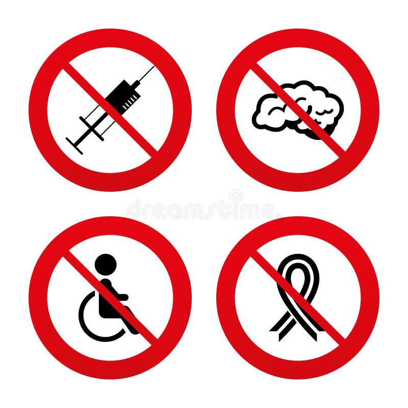 De pictogrammen van de geneeskunde Spuit, gehandicapten, hersenen vector illustratie