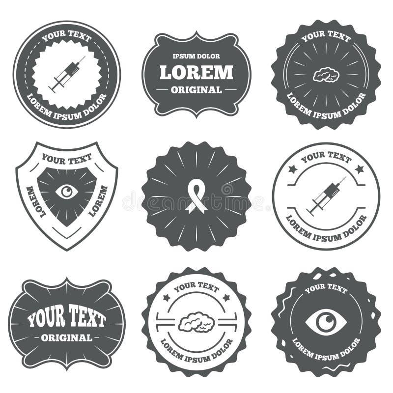 De pictogrammen van de geneeskunde Spuit, oog, hersenen en lint stock illustratie