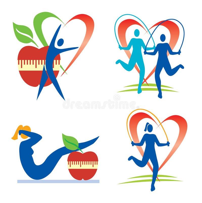 De pictogrammen van de geschiktheidsgezondheid royalty-vrije illustratie