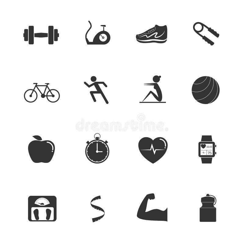 De pictogrammen van de geschiktheidsoefening stock illustratie