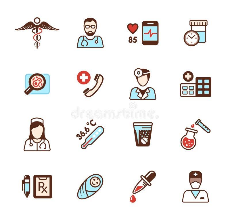 De pictogrammen van de gezondheidszorg royalty-vrije illustratie