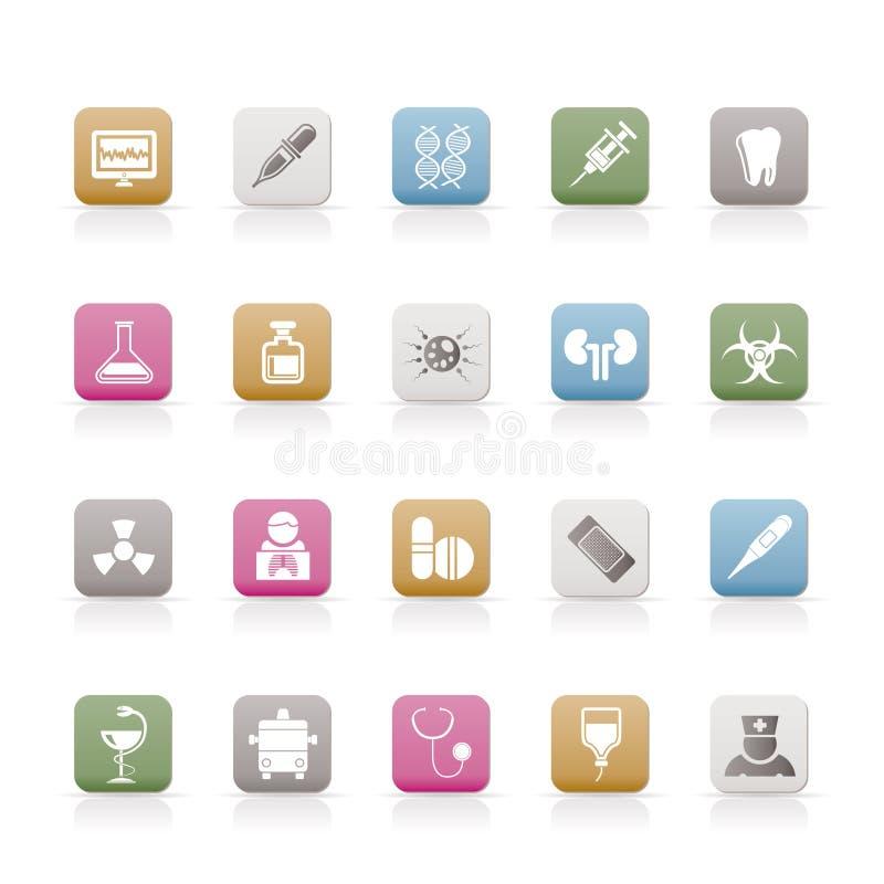 De pictogrammen van de gezondheidszorg, van de Geneeskunde en van het ziekenhuis royalty-vrije illustratie