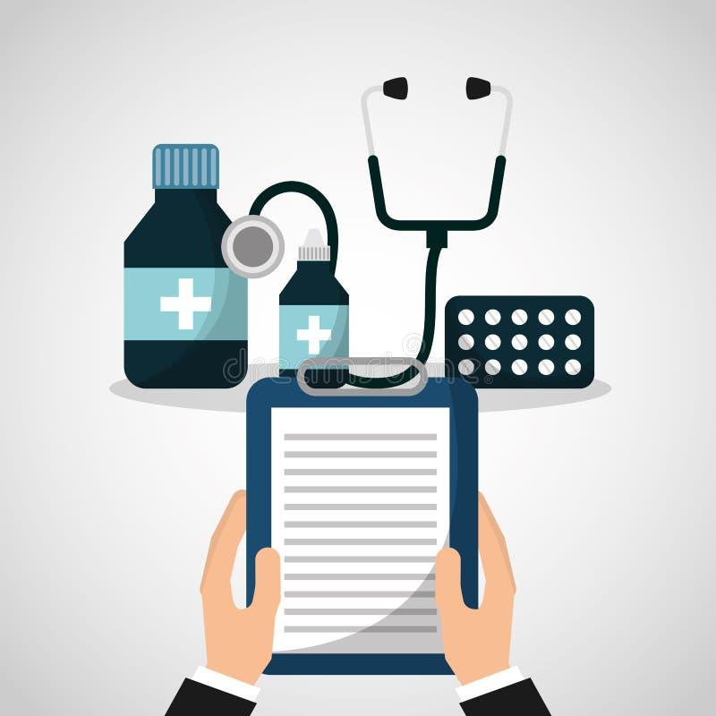 De pictogrammen van de gezondheidszorgmedische apparatuur vector illustratie