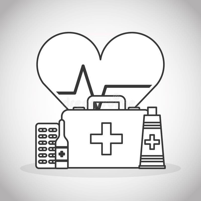 De pictogrammen van de gezondheidszorgmedische apparatuur royalty-vrije illustratie