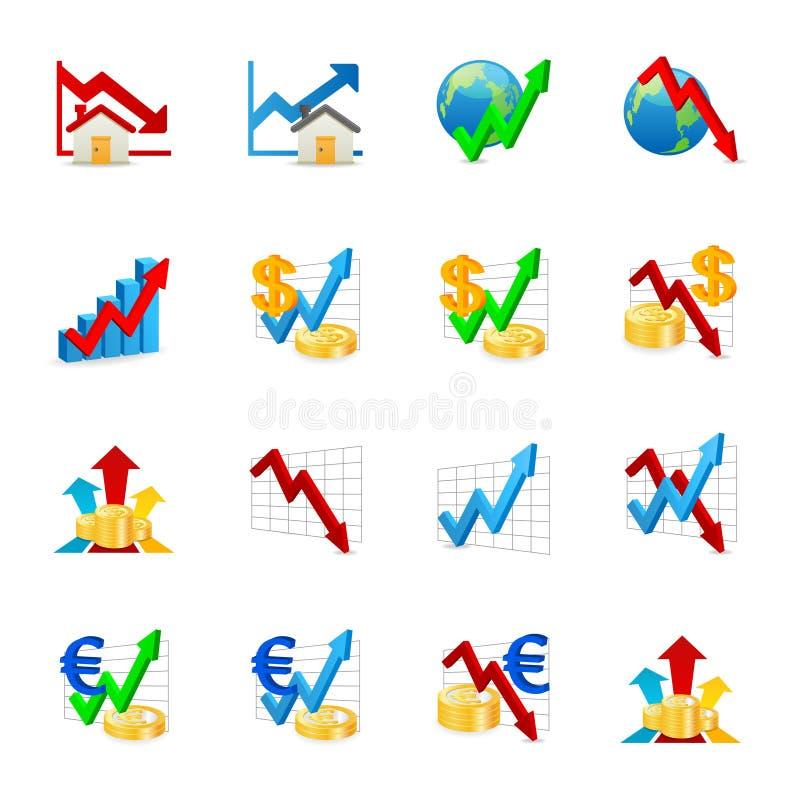 De pictogrammen van de grafiek stock illustratie