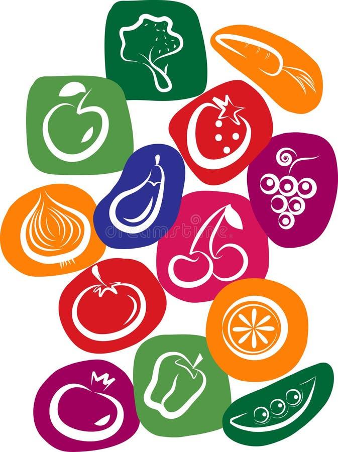 De pictogrammen van de groente en van het fruit op kleurrijke achtergrond vector illustratie