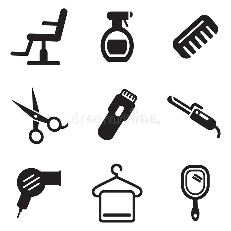 De Pictogrammen van de haarsalon stock illustratie