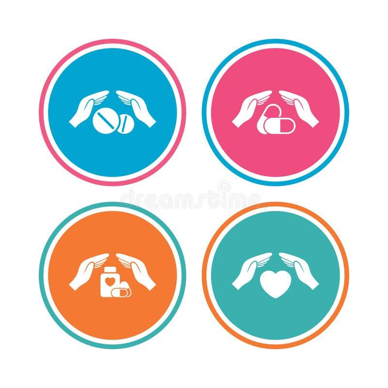 De pictogrammen van de handenverzekering Gezondheids medische pillen vector illustratie