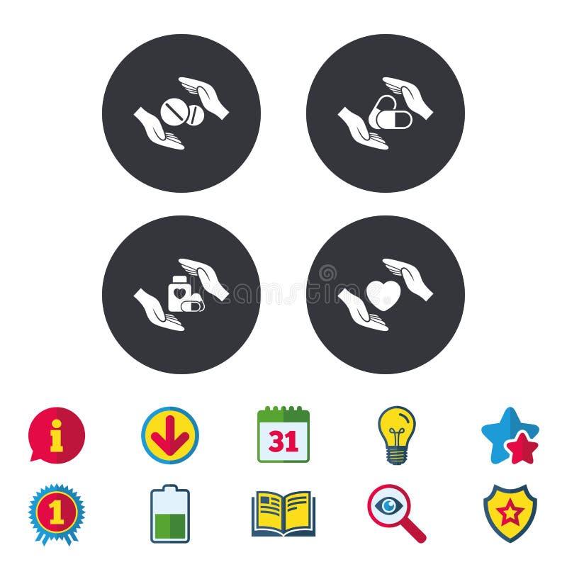 De pictogrammen van de handenverzekering Gezondheids medische pillen royalty-vrije illustratie