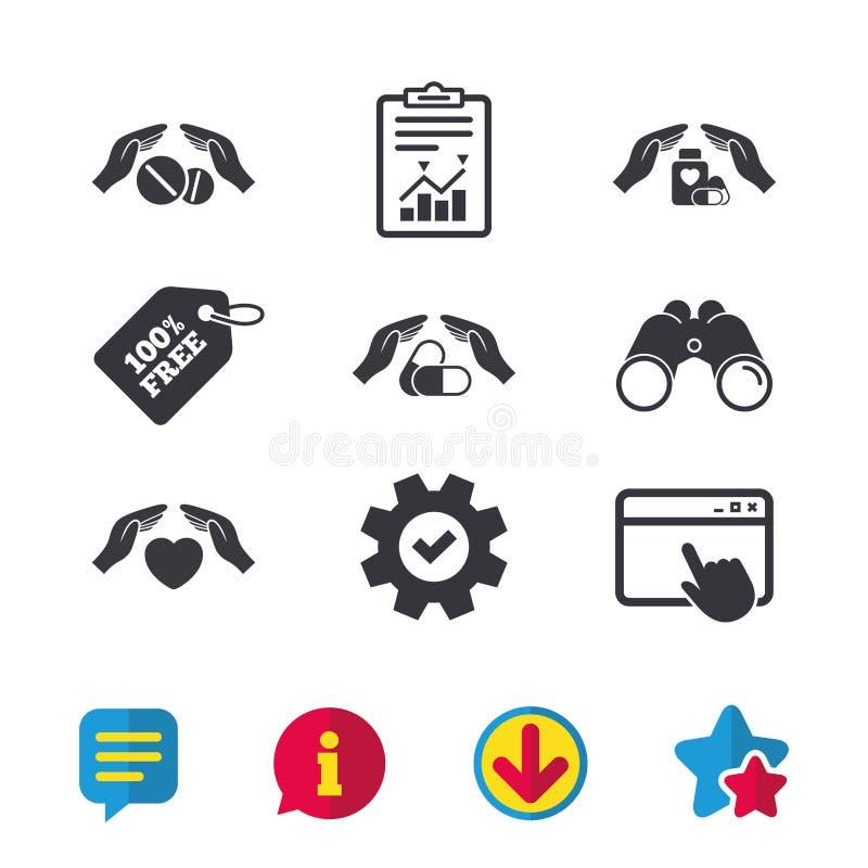 De pictogrammen van de handenverzekering Gezondheids medische pillen stock illustratie