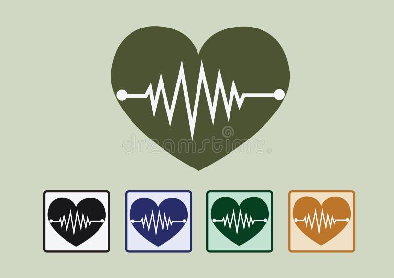 De pictogrammen van de hartgolf stock illustratie