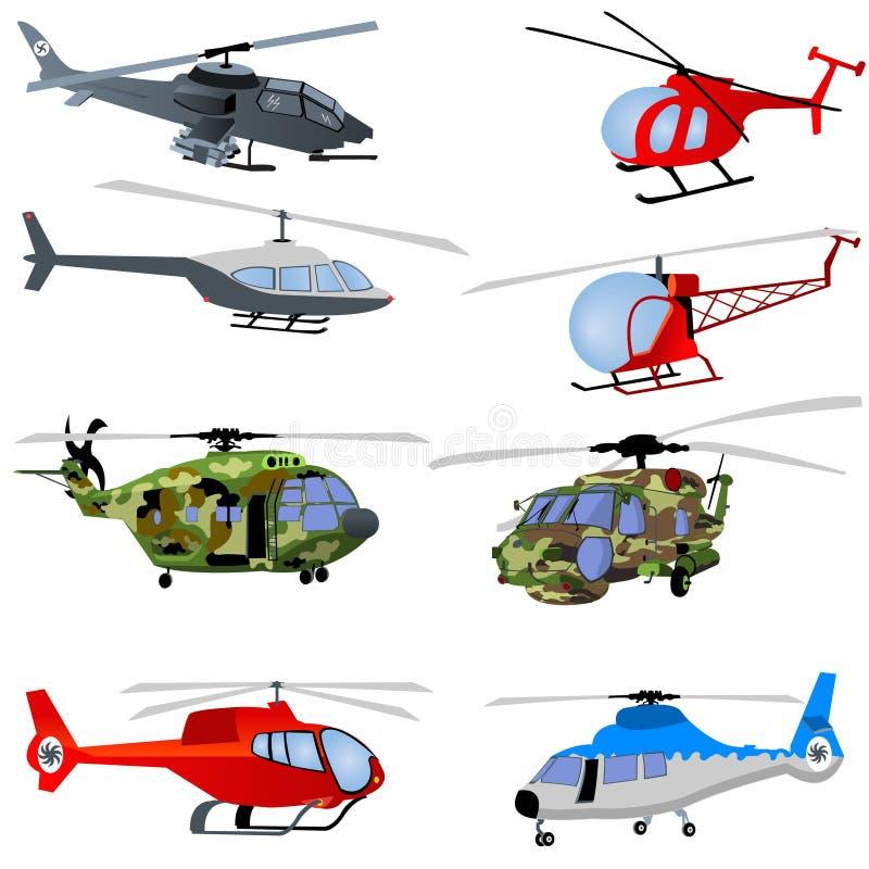 De pictogrammen van de helikopter vector illustratie