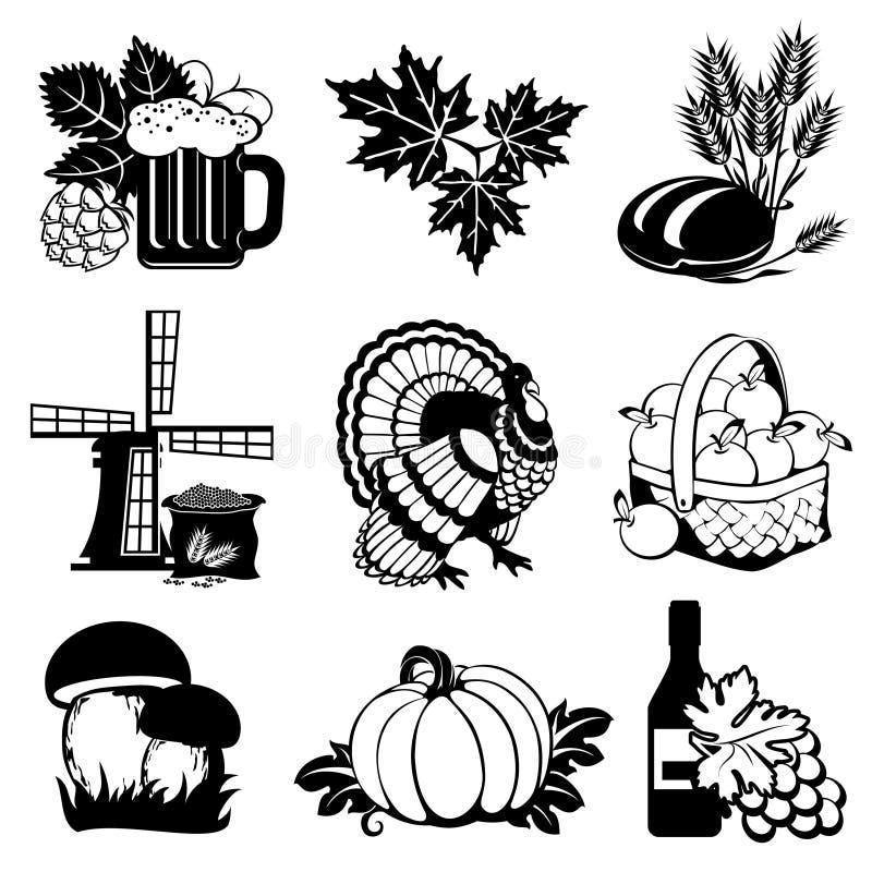 De pictogrammen van de herfst stock illustratie