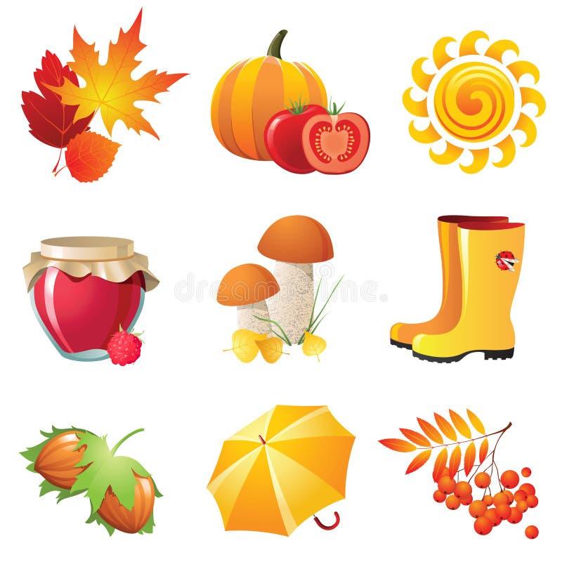 De pictogrammen van de herfst royalty-vrije illustratie