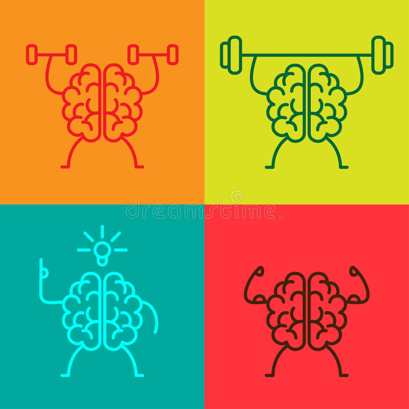De pictogrammen van de hersenenmacht stock illustratie