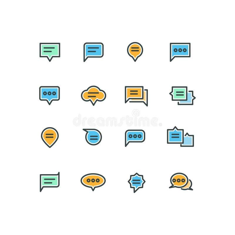 De pictogrammen van de het overzichtskleur van de toespraakbel voor Web en mobiele toepassing vector illustratie