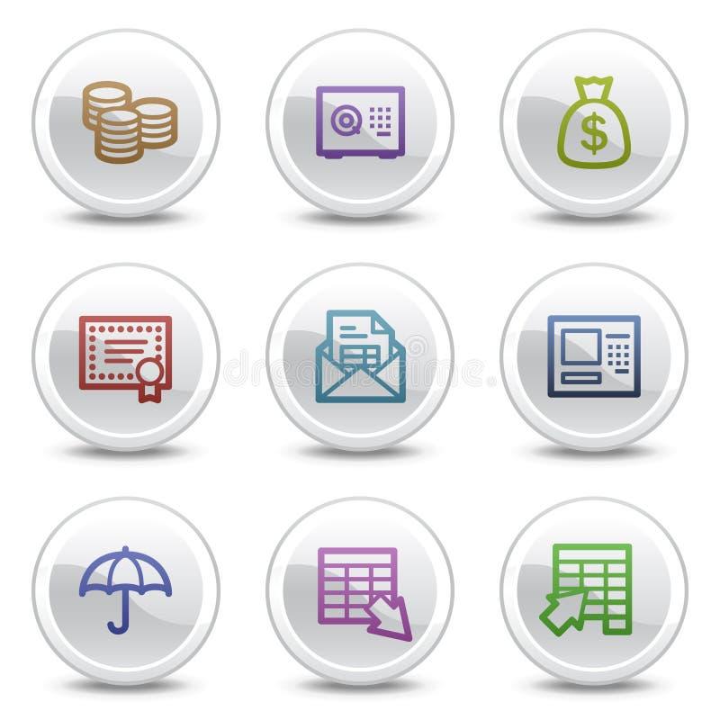 De pictogrammen van de het Webkleur van het bankwezen, witte cirkelknopen stock illustratie