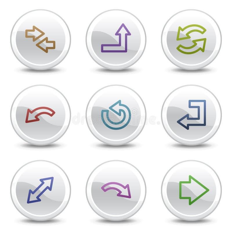 De pictogrammen van de het Webkleur van pijlen, witte cirkelknopen royalty-vrije illustratie