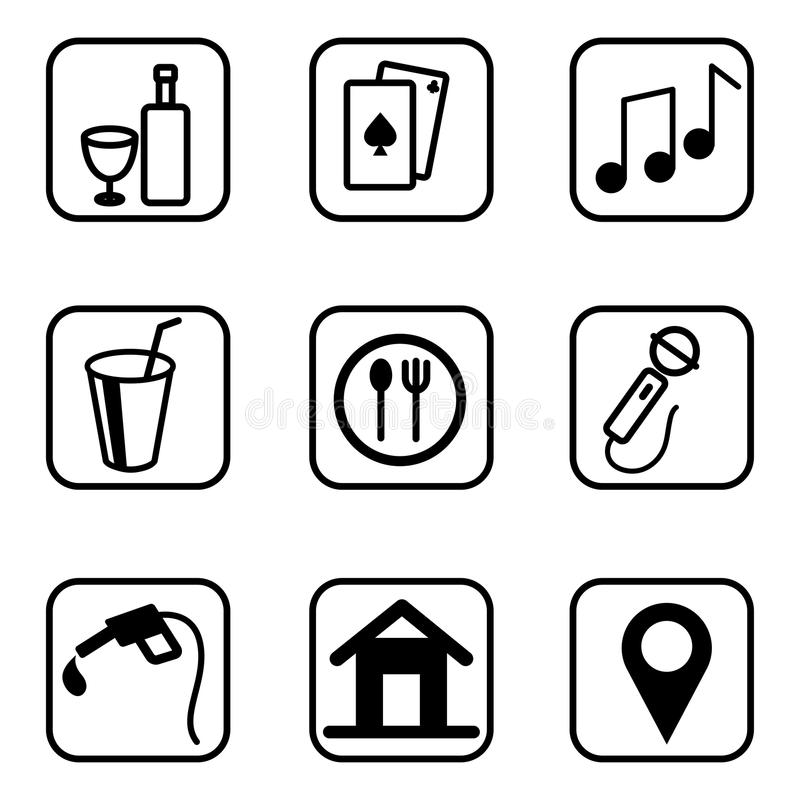 De pictogrammen van de hoteldiensten op witte achtergrond worden geplaatst die vector illustratie