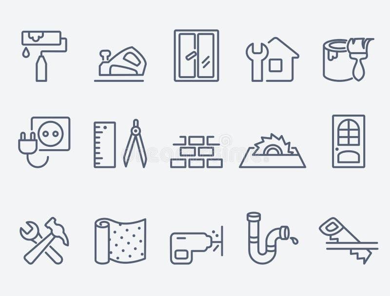 De pictogrammen van de huisreparatie royalty-vrije illustratie