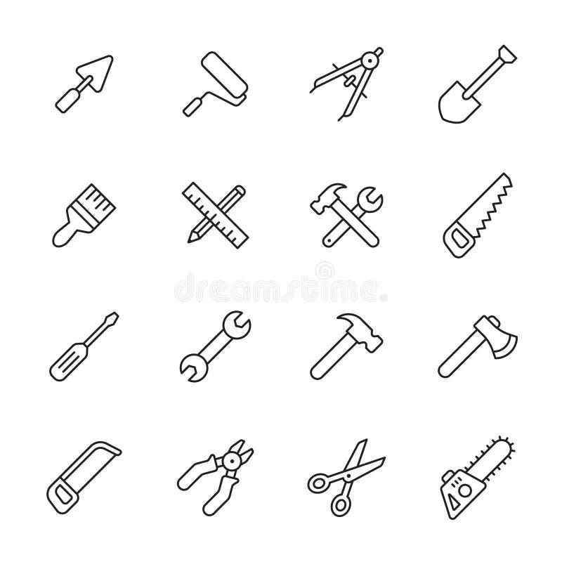 De pictogrammen van de hulpmiddelenlijn vector illustratie