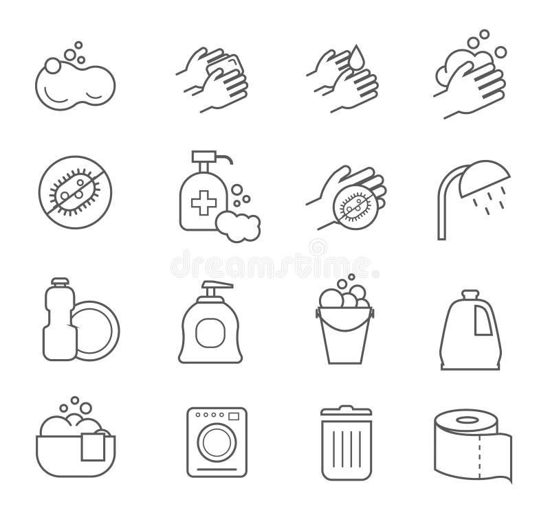 De pictogrammen van de hygiënelijn Het schoonmaken en schone vectorsilhouettekens voor badkamerstoilet vector illustratie