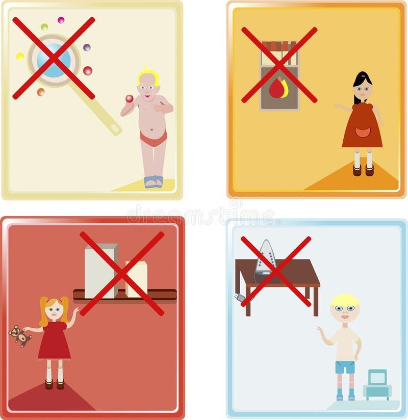 De pictogrammen van de jonge geitjesveiligheid royalty-vrije illustratie
