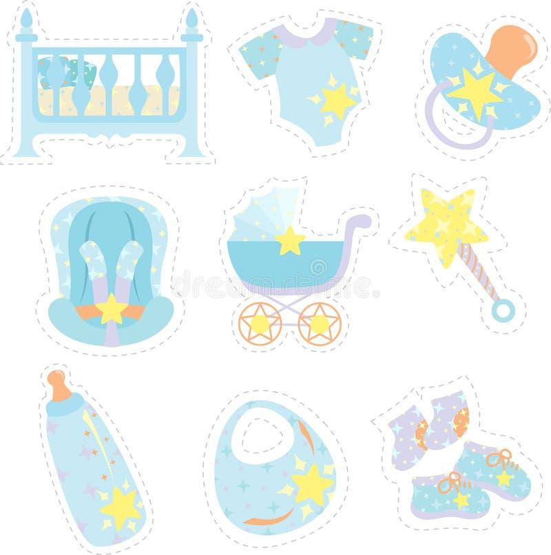 De pictogrammen van de jongenspunten van de baby stock illustratie