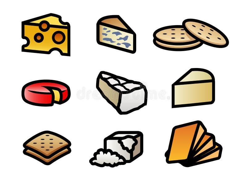De Pictogrammen van de kaas en van de Cracker vector illustratie
