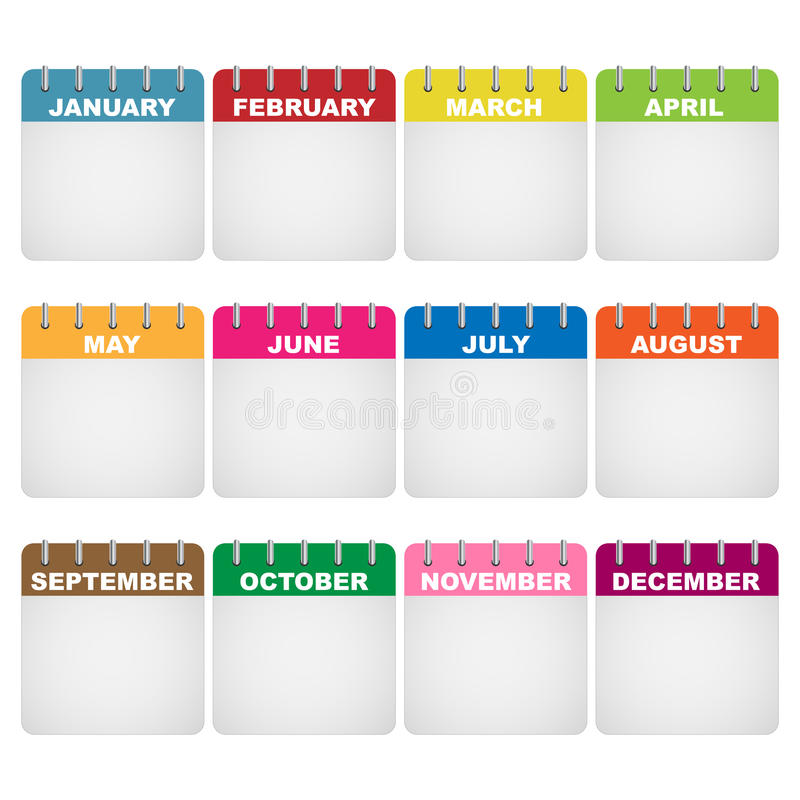 De pictogrammen van de kalender royalty-vrije illustratie