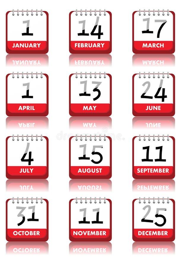 De Pictogrammen van de kalender stock illustratie