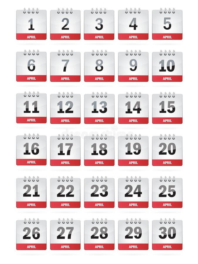 De Pictogrammen van de Kalender van april stock illustratie