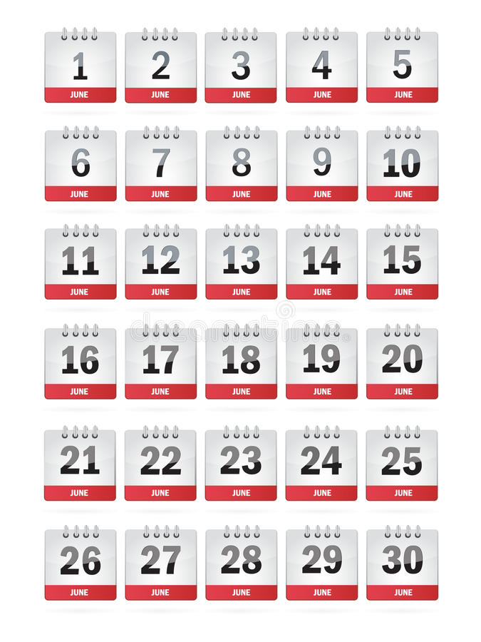 De Pictogrammen van de Kalender van juni stock illustratie