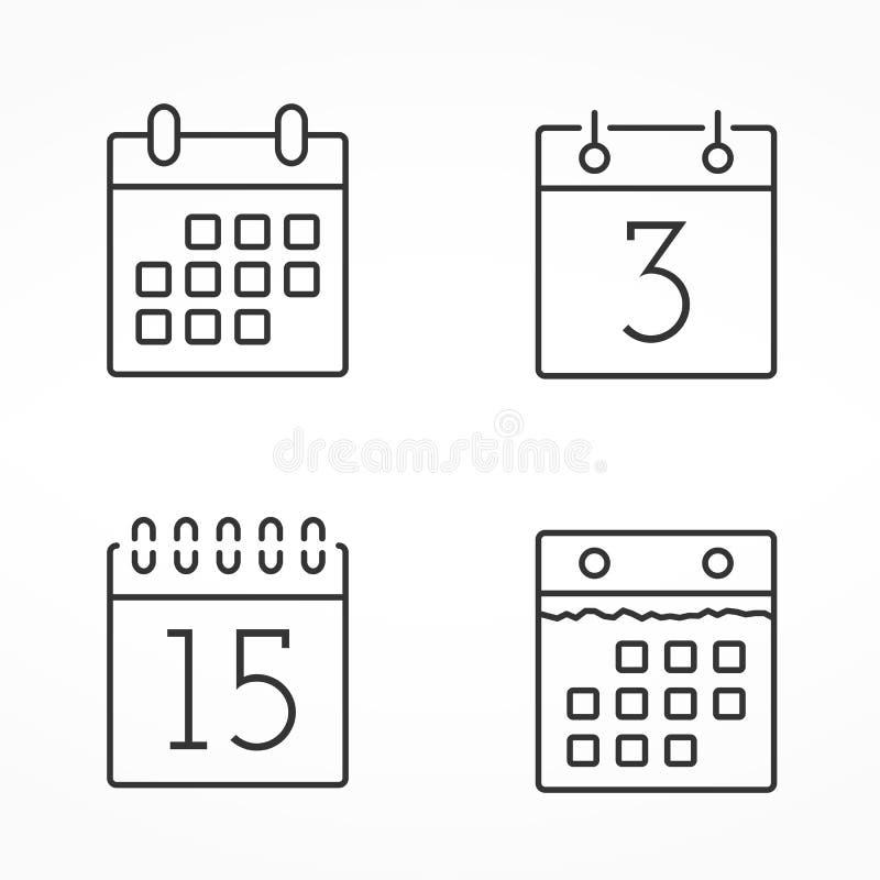De Pictogrammen van de kalenderlijn stock illustratie