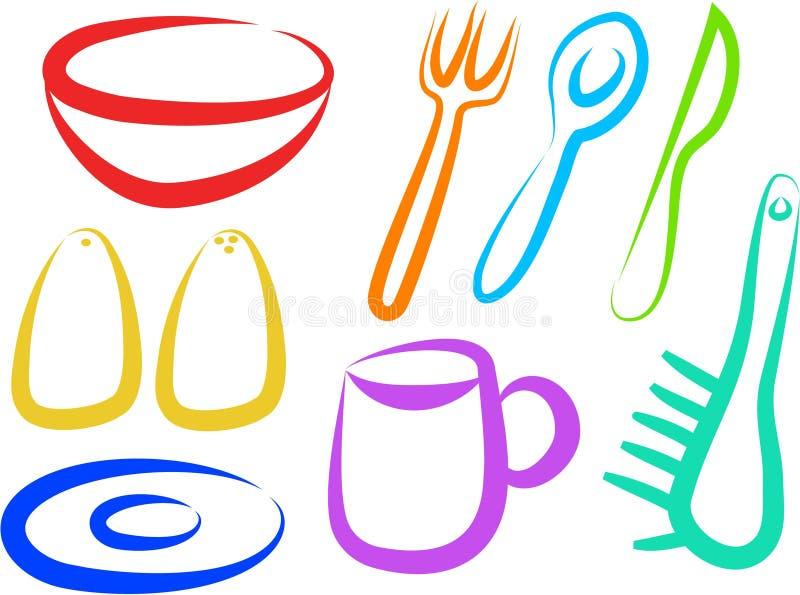 De Pictogrammen van de keuken stock illustratie
