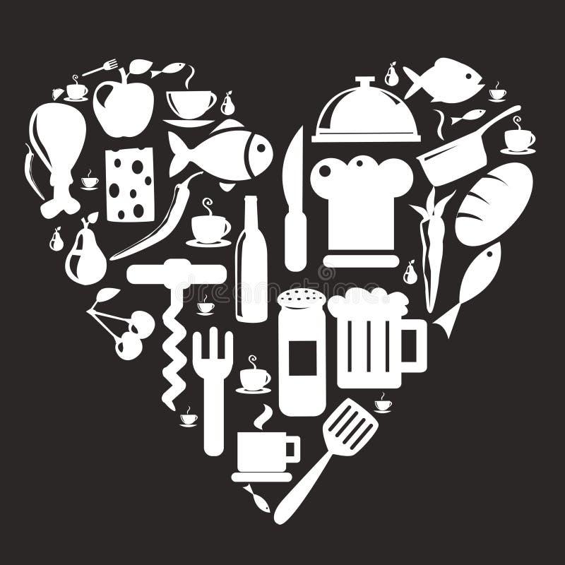 De pictogrammen van de keuken en van het voedsel royalty-vrije illustratie